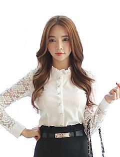 Camicia Da donna Pizzo Colletto alla coreana Manica lunga Poliestere