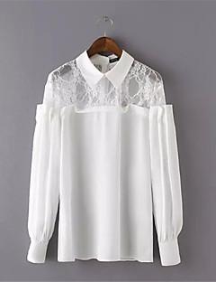 여성의 패치 워크 셔츠 카라 긴 소매 셔츠 폴리에스테르