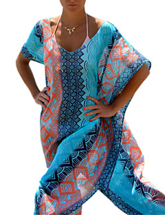 Γυναικεία Ρούχο Παραλίας Γεωμετρικό Δένει στο Λαιμό Χωρίς Μπανέλα Σιφόν