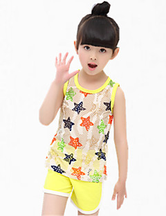 Girl's Blue / Green / Yellow Tee / Shorts,Cartoon Cotton Summer