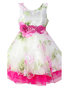 Girls Flower Print Sleeveless Knee-length Princess Dresses,Organic Cotton Summer / Spring / Fall Pink Flower Multi-layer Casual