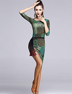 Latin Dance Dresses Women's Performance Viscose Draped 1 Piece Multi-color Latin Dance Dress