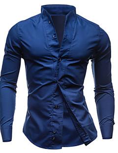 Masculino Camisa Casual Color Block Manga Comprida Algodão Preto / Azul / Branco