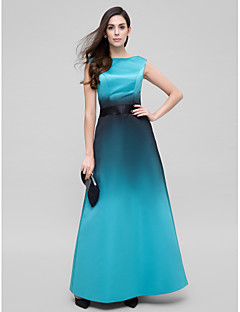 TS Couture® Formal Evening Dress - Color Gradient A-line Scoop Ankle-length Satin with