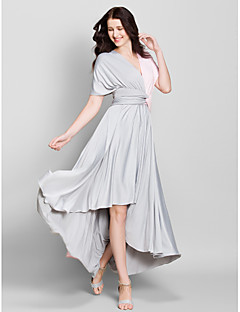 Lanting Bride® Asymmetrical Jersey Bridesmaid Dress A-line V-neck with Criss Cross
