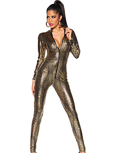 Women's Leopard PVC Full Sleeve Catsuit Outfit Fancy Dress