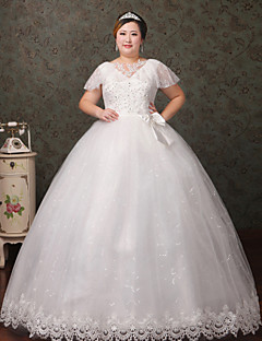 A-line Wedding Dress Floor-length V-neck Lace / Tulle with Crystal / Lace