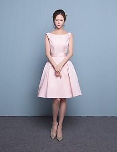 Vestito da damigella-Rosa Fasciante Stondata Corto/mini Raso