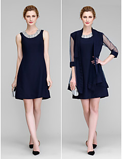 Lanting A-line Mother of the Bride Dress - Dark Navy Short/Mini 3/4 Length Sleeve Chiffon