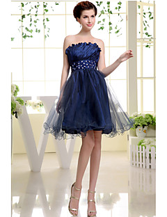 Cocktail Party Dress-Dark Navy A-line Strapless Short/Mini Taffeta / Tulle