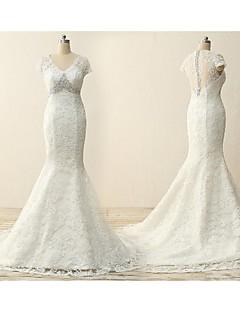 Trumpet/Mermaid Cap Sleeves Wedding Dress-Ivory Court Train V-neck Lace