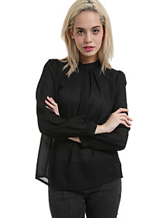 Damen Solide Einfach Formal Bluse,Rundhalsausschnitt Frühling Langarm Rosa / Schwarz Polyester Mittel