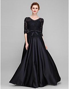 Lanting A-line Mother of the Bride Dress - Black Floor-length Half Sleeve Lace / Satin