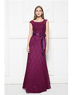 Floor-length Lace Bridesmaid Dress-Grape A-line Scoop