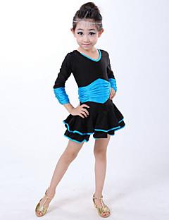Latintanz-Kleider(Blau / Fuchsie / Rot,Elastan,Latintanz) - fürKinder Kleid Lange Ärmel Normal