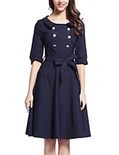 여성의 빈티지 / 심플 / 스트리트 쉬크 스윙 드레스 솔리드 무릎길이 라운드 넥 면 / 스판덱스