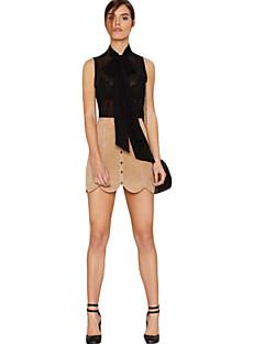 Camicia Da donna Casual Moda città Estate,Tinta unita Con fiocco Poliestere Nero Senza maniche Opaco
