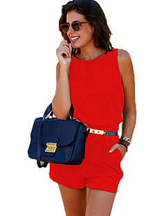 Women's Solid Blue / Red / Yellow Jumpsuits,Sexy / Beach Round Neck Sleeveless
