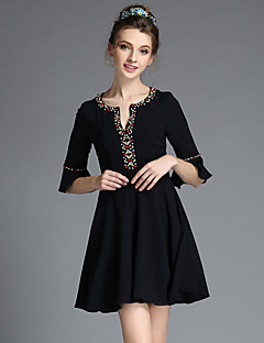 Summer Plus Size Vintage Ethnic Bead Women Elegant Ruffle1/2 Sleeve A-line Dress