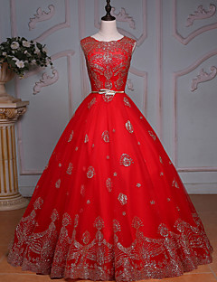 웨딩 드레스-루비 프린세스 바닥 길이 보석 튤 / 스팽글