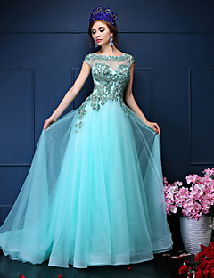 Formal Evening Dress-Sage Trumpet/Mermaid Jewel Court Train Lace / Tulle