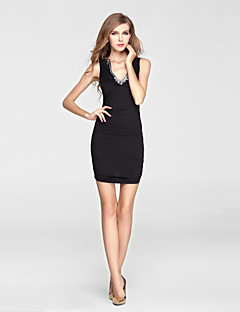 Cocktail Party Dress-Black Sheath/Column V-neck Short/Mini Charmeuse