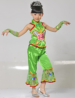 Performance Outfits Children's Performance Polyester Appliques / Sequins 4 Pieces Green / Red / Yellow Folk Dance SleevelessSleeves /