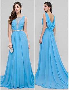 Vestido - Azul Festa Formal A-Line Decote em U Cauda Corte Chiffon