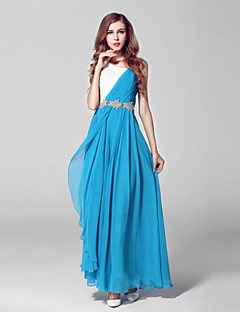 포멀 이브닝 드레스-오션 블루 볼 드레스 발목 길이 스쿱 쉬폰