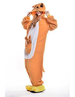 Kigurumi Pyjamas New Cosplay® Kænguru Trikot/Heldragtskostumer Festival/Højtider Nattøj Med Dyr Halloween Oransje Patchwork Polarfleece
