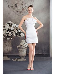 Vestito-Bianco Cocktail A tubino Con bretelline Corto/mini Raso