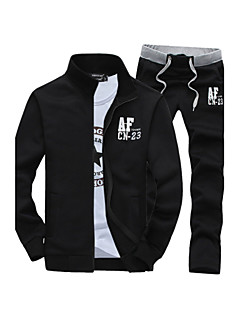 Hot Sale Two-Piece Men's Long Sleeve Set,Cotton / Polyester Solid Casual Sport Outerwear Coat