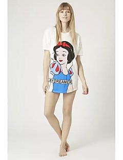 여성의 프린트 라운드 넥 짧은 소매 블라우스,심플 캐쥬얼/데일리 화이트 폴리에스테르 여름 얇음