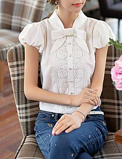 Mulheres Camisa Trabalho Vintage / Simples Verão,Sólido Branco Poliéster / Náilon Gola Redonda Manga Curta Fina