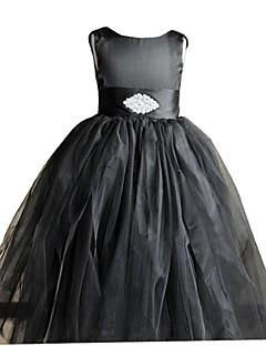 Vestido para Meninas das Flores-De Baile Longo Sem Mangas Cetim / Tule