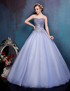 Princess Wedding Dress Wedding Dresses in Color Floor-length Sweetheart Crepe / Lace / Organza / Tulle withAppliques / Beading /