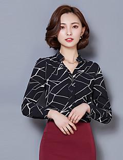 Mulheres Blusa Colarinho Chinês Manga Longa Listrado Poliéster Mulheres