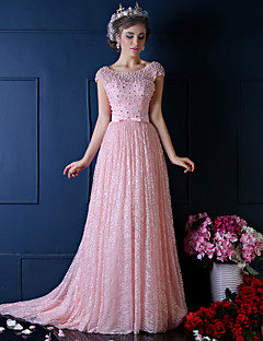 Formal Evening Dress-Pearl Pink Ball Gown Scoop Sweep/Floor-length Lace / Tulle