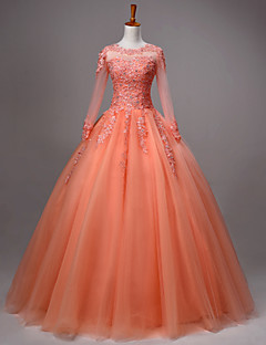 Princess Wedding Dress Floor-length Jewel Lace / Tulle with Beading / Crystal / Lace / Pattern