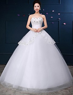 Ball Gown Wedding Dress-White Floor-length Strapless Lace / Tulle