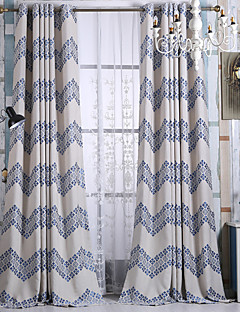 zwei Panele Modern Streifen Blau Kinderzimmer Polyester Verdunklungsvorhänge Vorhänge