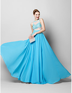 TS Couture® Formal Evening Dress - Pool Sheath/Column Jewel Floor-length Chiffon / Tulle