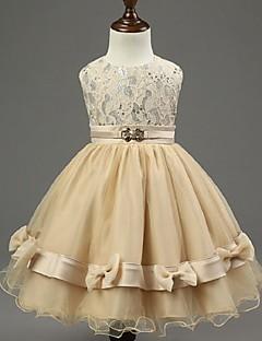 A-line Knee-length Flower Girl Dress - Chiffon / Stretch Satin Sleeveless Jewel with