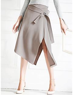 Women's Side Split Irregular Hems Button Midi Skirt