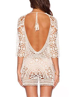 Women's Bandeau Cover-Ups,Crochet / Mesh Double Strap Cotton / Polyester White