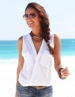 Tee-shirt Aux femmes,Couleur Pleine Décontracté / Quotidien Sexy / simple Eté Sans Manches V Profond Blanc / Noir / Gris Polyester Moyen