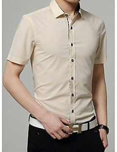 Men's Solid Casual Shirt,Cotton Short Sleeve Black / Blue / Purple / Red / White / Yellow