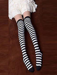 Black and White Striped Cotton Punk Lolita Over Knee Socks
