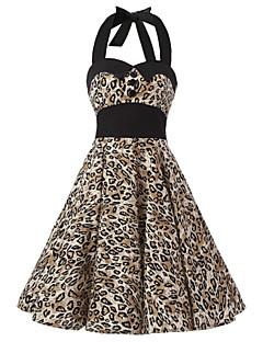 Dámské Vintage A Line Šaty Leopard Lodičkový Délka ke kolenům Bavlna