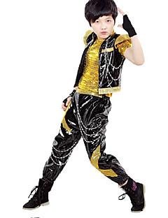 Jazz Outfits Dla dzieci Wydajność Sequined Cekiny 3 elementy Z krótkim rękawem Spodnie / góra / Yelek TOP S:28cm  M:30cm  L:32cm  XL:34cm